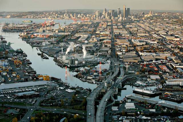 A view of downtown Seattle over the Duwamish Waterway Paul Joseph Brown/InvestigateWest