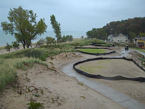 On the shores of Lake Michigan, a private golf course and housing development, seen here in 2009, sit on public land once protected under the Land and Water Conservation Fund Act. (Robert McClure/InvestigateWest)