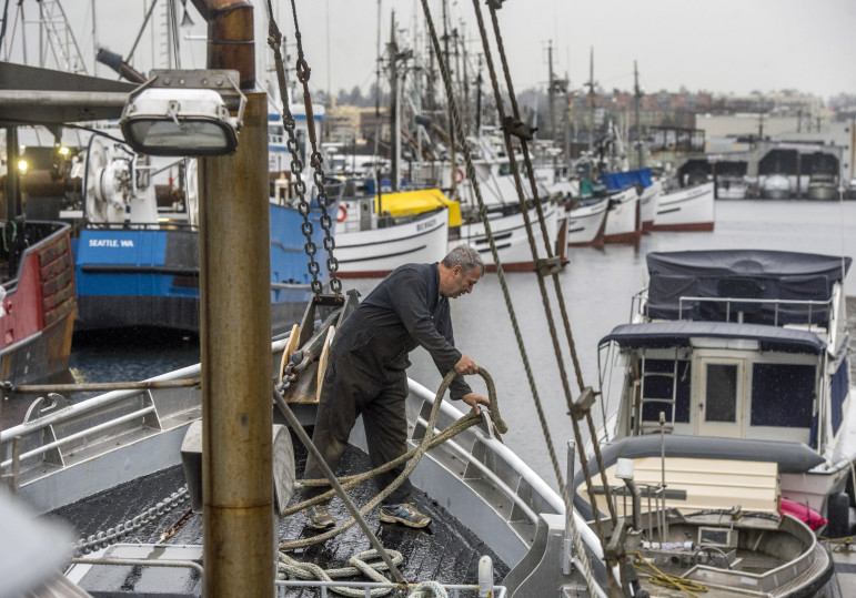 When the halibut fishing season is closed, Wade Bassi is still busy with his hook-and-line fishing boat, Polaris, at Fisherman's Terminal in Seattle.