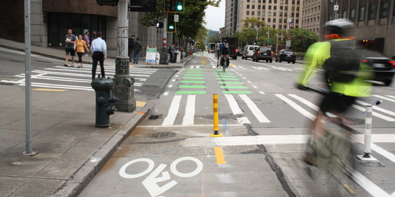 A protected bike lane on Second Ave. in downtown Seattle.
