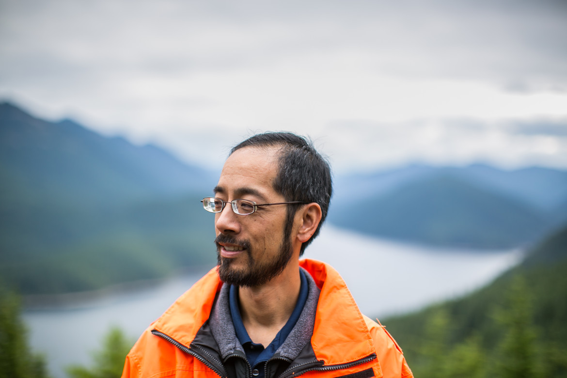 Alex Chen, director of water planning for Seattle Public Utilities, high above the Chester Morse Reservoir
