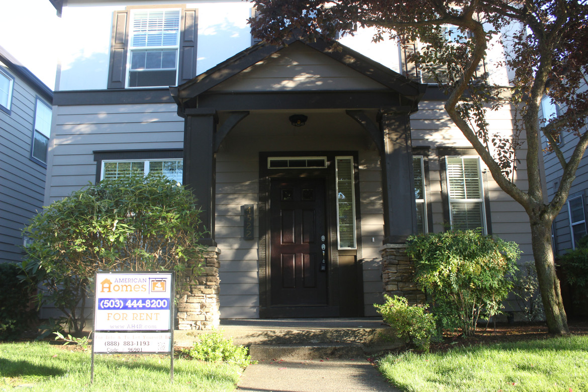 A house in the New Columbia neighborhood of North Portland is advertised for rent by American Homes for Rent, i
