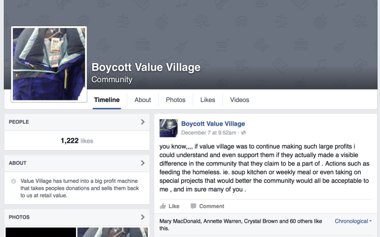 A Facebook community calling for a boycott of Value Village