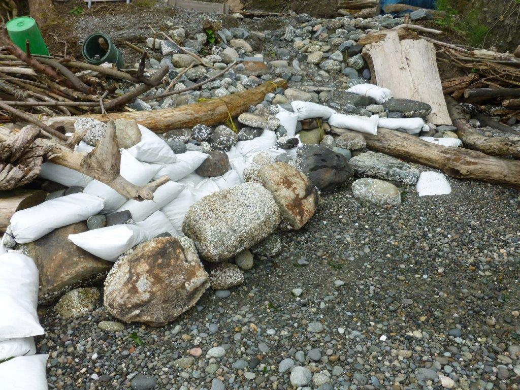 The owners of this Vashon Island property are under investigation by King County for armoring the beachfront by installing an unpermitted seawall made of rocks, logs and sandbags. The homemade seawall prevents sand from the bluff above from covering rocks along the shore and providing a place for fish to lay eggs. The vacant parcel is located on Olympic Drive in northwestern Vashon Island, on the Colvos Passage.