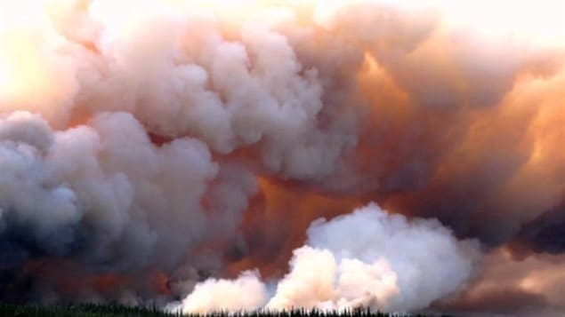 Fire in Northwest Territories, Canada in summer 2014
