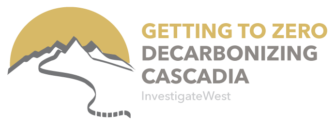 """Getting to Zero: Decarbonizing Cascadia"" and ""Investigate West"" in gold and dark gray font next to a digital illustration of a mountain against a yellow half-circle."