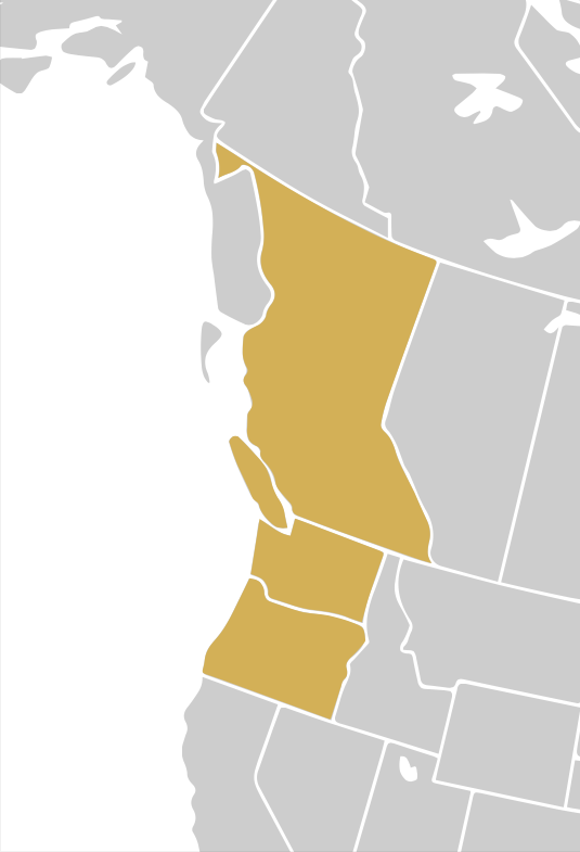 A simple two-tone map of the Cascadia region, roughly encompassing Washington, Oregon and British Columbia.