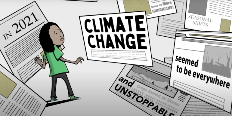 "A digital illustration of a young person in a green shirt, surrounded by floating newspaper headlines about climate change being ""everywhere"" and ""unstoppable."" The person looks distressed."