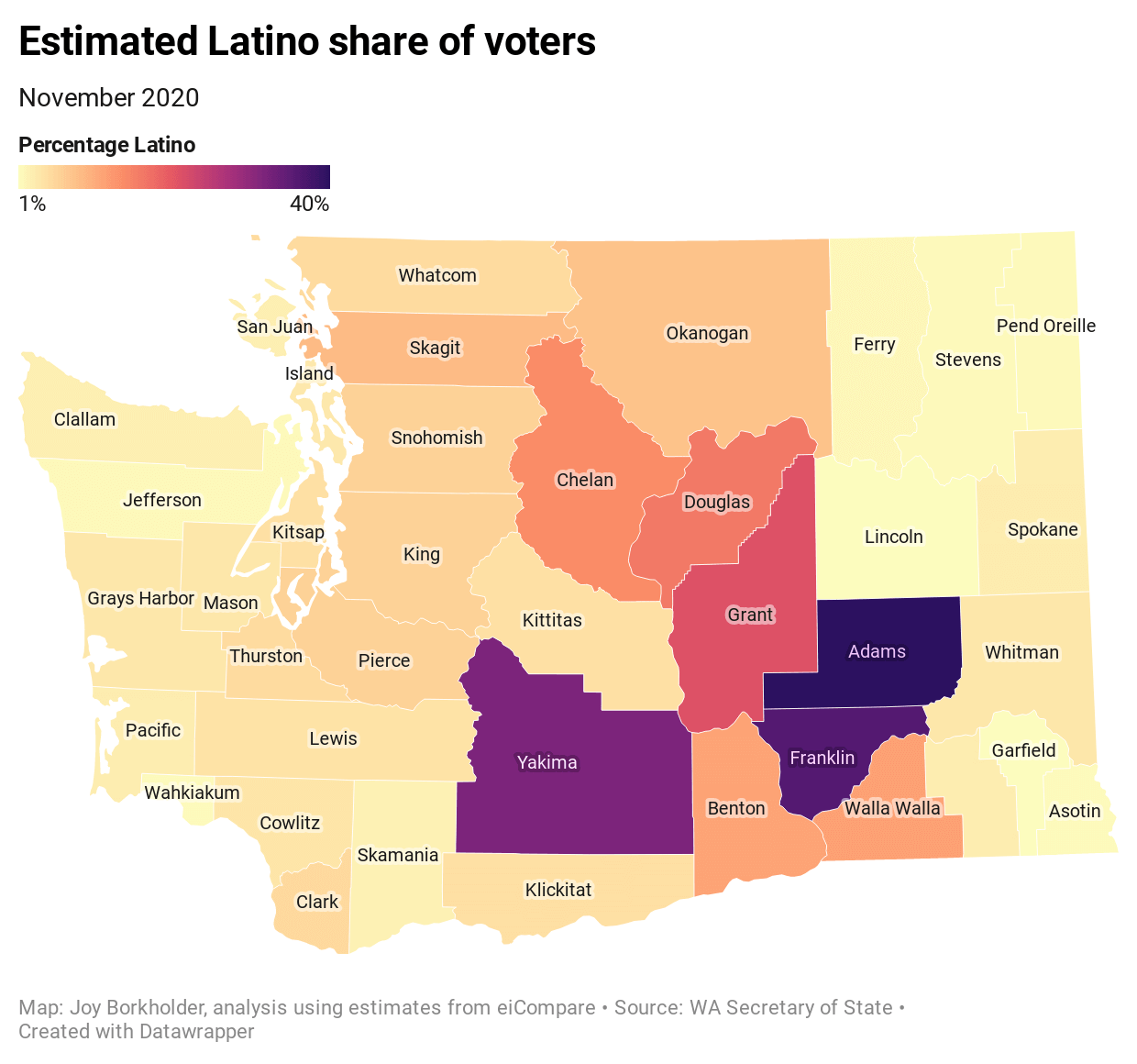 A heat map of the estimated Latino share of voters in Washington state.