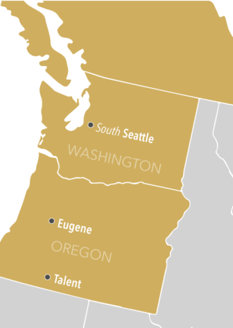 A simplified map of Washington and Oregon with South Seattle, Eugene and Talent marked.