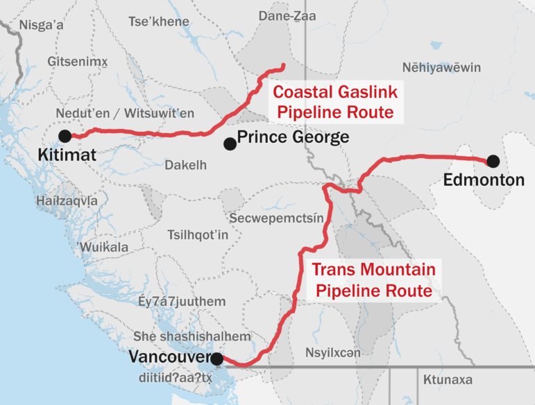 An illustrated map of the Coastal Gaslink Pipeline Route and the Trans Mountain Pipeline Route.