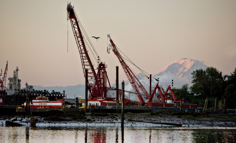 Industrial equipment on the side of the Duwamish River.