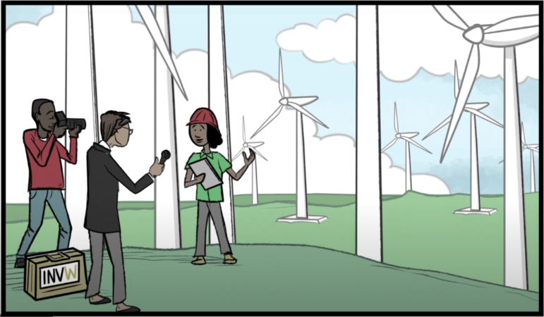 Illustration showing a wind farm employee standing amid wind turbines being interviewed by reporters