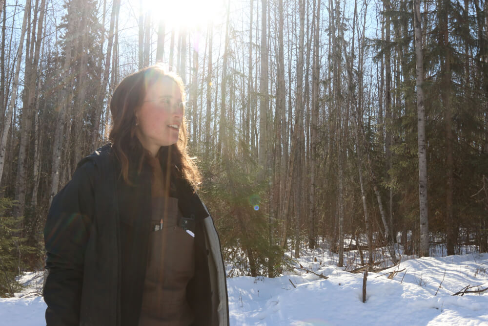 A person standing in a forest, with a sun glare above their head.