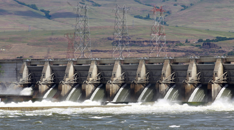 A faraway shot of a dam.