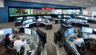 A photo of a grid control center office.