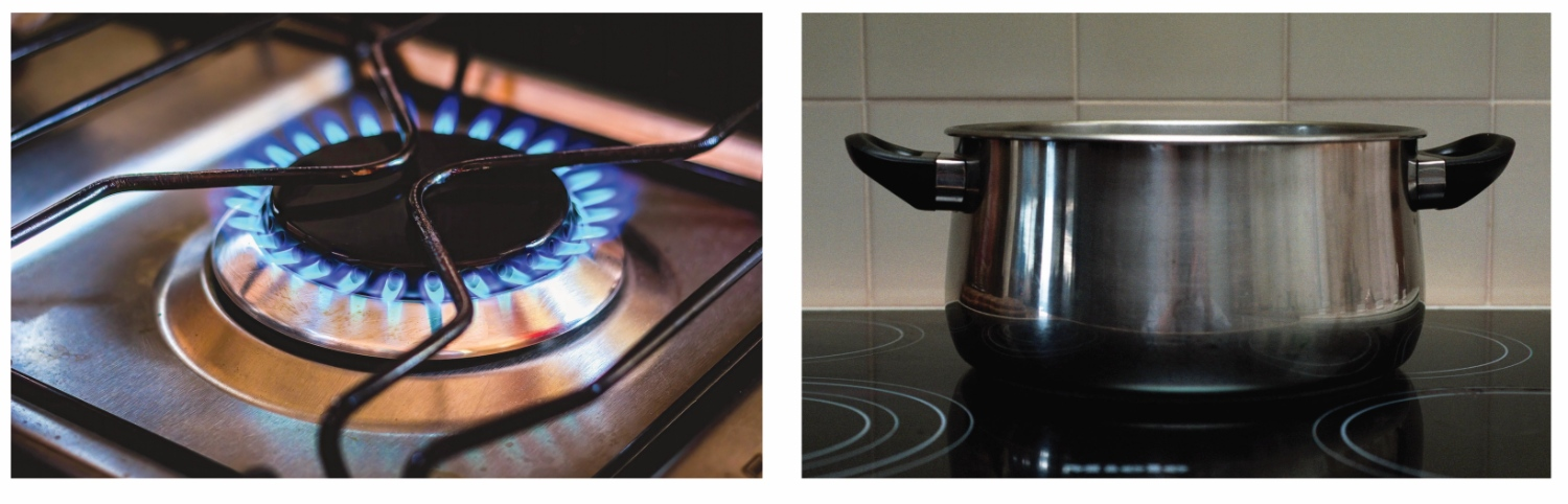 A gas stove top on the left, and an electric stove top on the right.